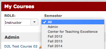 Filter by Semester on D2L