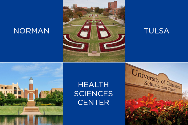 Graphic shows a picture of Norman, Tulsa, and Health Science Center OU campuses.